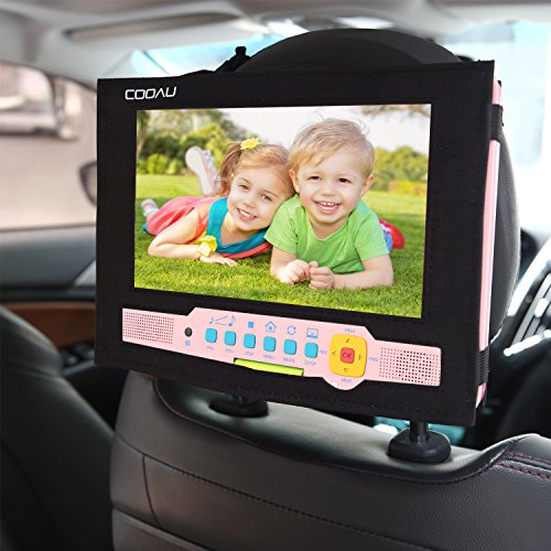COOAU Car Headrest Mount Holder Backseat Strap Case for 9-9.5 inch Swivel & Flip Portable DVD Players