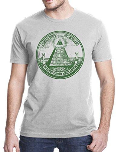Pyramid Dollar Bill - Eye of Providence All Seeing Eye Pyramid Dollar Bill Masonic T-Shirt, XL, Gray