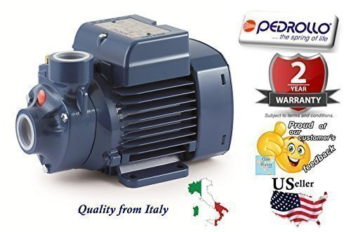 Pedrollo 41PNK60U1CA5P Model PKm 60 115V 60Hz Single-phase Water Pump with Peripheral Impeller, Flow rate up to 40 l/min (2.4 m³/h), Head up to 40 m, 0.37kW and 0.50 Power (P2) by Pedrollo