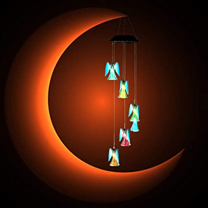 AceList LED Solar Wind Chime, Color-Changing Angel Solar Powered Wind Chime  Lights for Home, Garden, Patio, Backyard, Balcony, Gifts for Mother's Day,