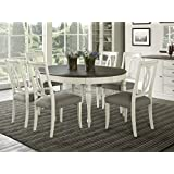 Vegas 7 Piece Round To Oval Extension Dining Table Set for 6 (Oval Back Chairs)