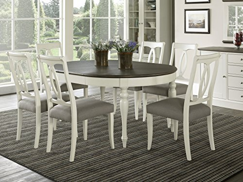 Everhome Designs - Vegas 7 Piece Round To Oval Extension Dining Table Set for 6 (Oval Back Chairs) (Solid Oak Round Dining Table 6 Chairs)