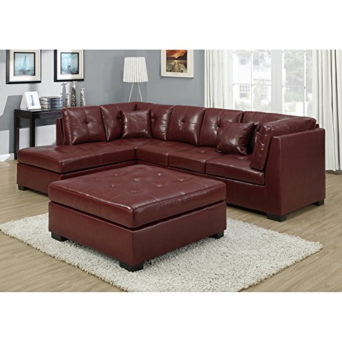 Monarch Bonded Leather/Match Ottoman, Red