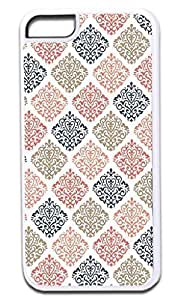 04-Colorful Damasks Pattern- Case for the APPLE iphone 5C ONLY!!!-NOT COMPATIBLE WITH THE REGULAR iphone 5C!!!-Hard White Plastic Outer Case by kobestar