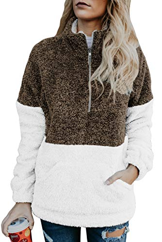 Sherpa Jacket Quarter Zip Fuzzy Sweater for Women Fall Fashion Patchwork Fleece Pullover Sweatshirt Tops Faux Fur Warm Coat Brown - Fleece Zip Quarter Pullover