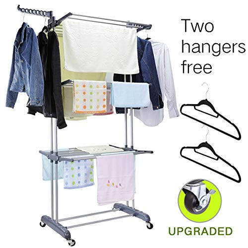 (MIZGI 3 Tier Rolling Clothes Drying Rack Clothes Garment Rack Laundry Rack with Foldable Wings Shape Indoor/Outdoor Standing rack Stainless Steel Hanging Rods - Gray & Electroplate (Gray))