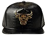 Unisex Hip Hop Dance Bull Logo Flat Panel Snap Back Leather Hat Cap Black