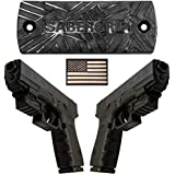 SaberGrip 50lb Rated Military Grade Gun Magnet | HQ Rubber Coated Gun Magnet Mount| Comes With Screws + 3M Adhesive, FREE Flag Patch | Concealed for Handgun Rifle Pistol Revolver Magazine