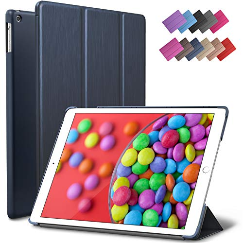 iPad Air Case, ROARTZ Metallic Navy Blue Slim Fit Smart Rubber Coated Folio Case Hard Shell Cover Light-Weight Auto Wake/Sleep for Apple iPad Air 1st Generation Model A1474/A1475/A1476 Retina Display (Case Ipad Blue Air Apple)