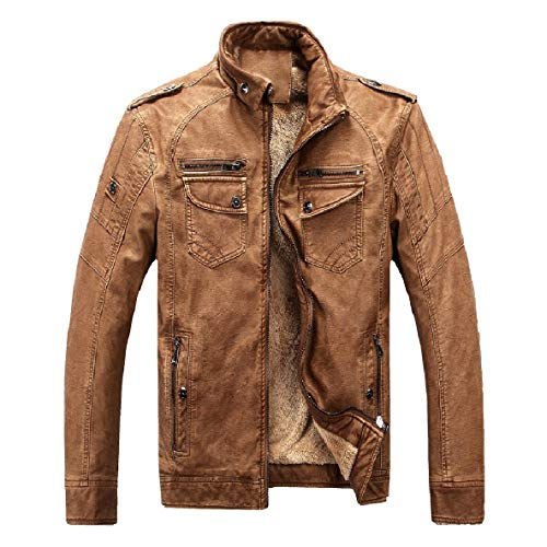 Velvet Collar Jackets Brown Retro Faux Leather Plus Men Stand Washed XINHEO Coats YB1SnxH