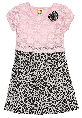 (HT35087) Healthtex Toddler Girls Mixed Media Dress in Pink Size: 4T (Toddler Frozen Dress)