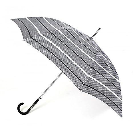 Paraguas largo mujer estampado a cuadros en blanco y negro. Paraguas Vogue abre automático