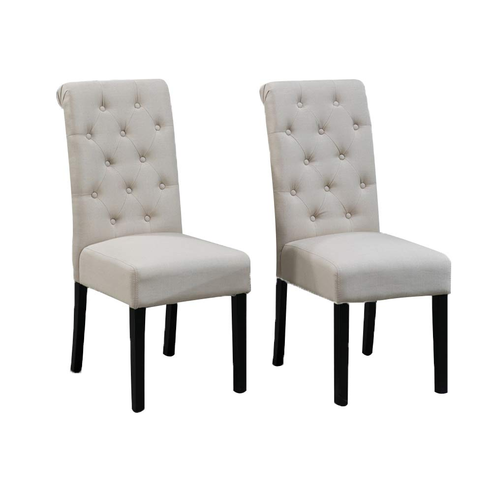 Huisenus Padding Dining Chair Wood High Back Dining Chair Button Upholstered Fabric Side Chair for Dining Room Restaurant Wedding Reception Set of 2 ...