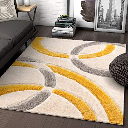 Stripes Rug Yellow - Well Woven Olly Yellow Geometric Stripes Thick Soft Plush 3D Textured Shag Area Rug 5x7 (5'3