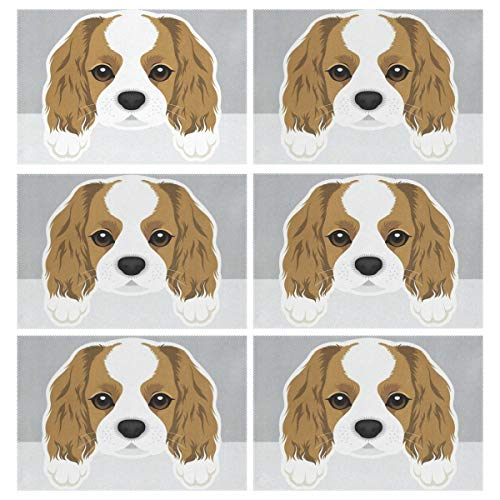 COCOCM Cavalier King Charles Spaniel Placemats for Dining Table Heat-Resistant Stain Resistant Washable Polyester Table Mats Kitchen Table mats Set of 6