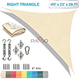 Patio Paradise 20' x 22' x 30' Sun Shade Sail with 8 inch Hardware Kit, Beige Right Triangle Canopy Durable Shade Fabric Outdoor UV Shelter - 3 Year Warranty - Custom