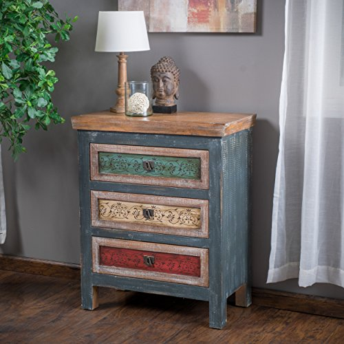Leo Solid Wood 3 Drawers Chest Cabinet In Weathered Multi Colored Finish