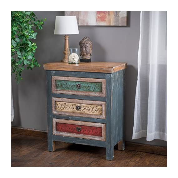 """Christopher Knight Home Everest Collection 3 Drawer Cabinet, Antique Dark Green - 15. 75"""" D x 29. 13"""" W x 35. 40"""" H Constructed with Multicolor Stained Birch wood Features 3 drawers - dressers-bedroom-furniture, bedroom-furniture, bedroom - 51nSJBqyFXL. SS570  -"""