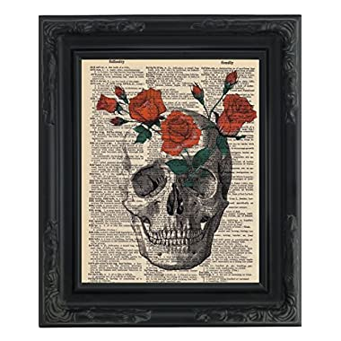 Dictionary Art Print - Red Roses in a Skull - Printed on Recycled Vintage Dictionary Paper - 8.5 x11  - Mixed Media Poster on Vintage Dictionary Page