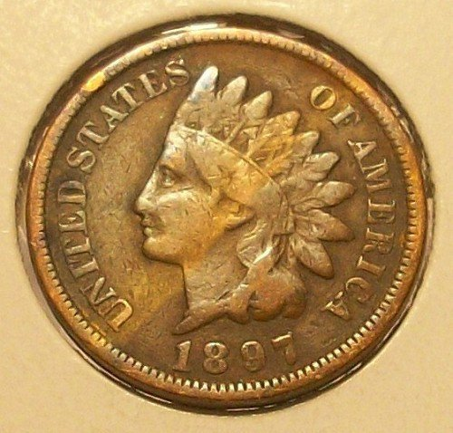 1897 U S  Indian Head Cent   Penny Circulated Good And Better