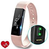 Fitness Tracker, REDGO Slim Heart Rate Touch Screen Activity Tracker Wireless Smart Bracelet Pedometer Smartwatch with Sleep Monitoring Wristband Band, Pink