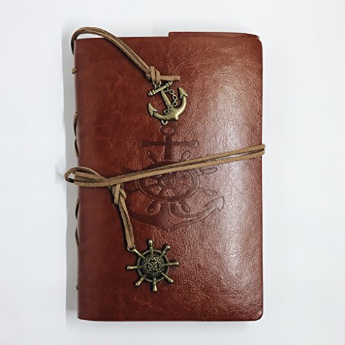 Vintage Bound Leather (PU) Diary, Mindfulness & Gratitude Journal, Student Agenda or Professional Planner, For Men, Women, Boys & Girls - Anchor (Mens Agenda)