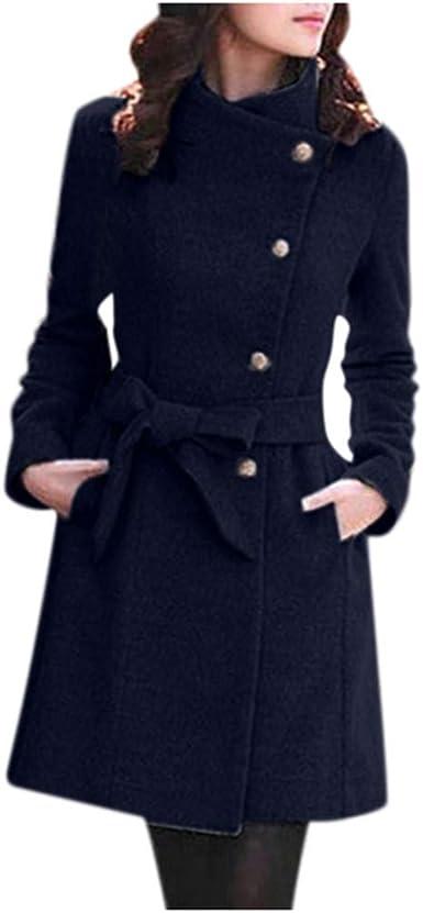 Chic Womens Leather Lapel Belt Trench Coats Slim Fit Dress Parka Jacket Outwear