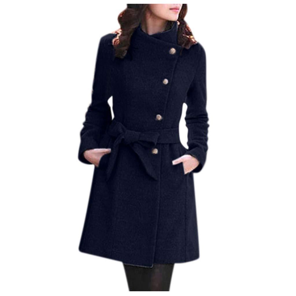 POTO Women Coats Ladies Double Breasted Pea Coat Elegant Winter Lapel Wool Coat Trench Jacket Overcoat Outwear