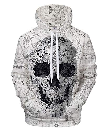 FYI Print Men Doodle Skull Hoodies 3D Unisex Sweatshirt Tracksuit Women Fashion Street Style Hiphop Pullover Jacket Outwear Casual Comic Hooded