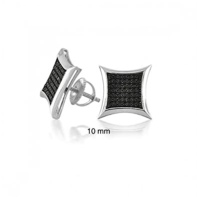 c6702d710 Black Square Kite Shaped Mens Micro Pave Cubic Zirconia CZ Stud Earrings in 925  Silver (10mm) Screw back: Amazon.co.uk: Jewellery