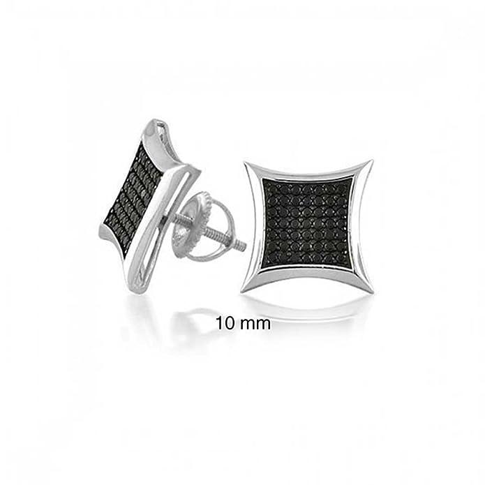 2c2b659147e2e Black Square Kite Shaped CZ Micro Pave Cubic Zirconia Stud Earrings For 925  Silver Screwback 10mm