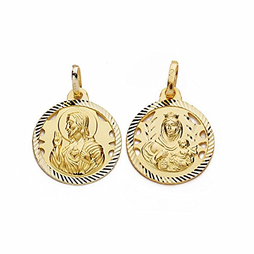 Médaille pendentif 16mm or 18k Scapulaire Vierge Carmen Coeur de Jésus [AA2473]