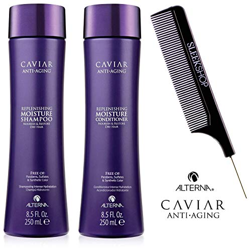 Alterna CAVIAR Anti-Aging REPLENISHING MOISTURE Shampoo & Conditioner DUO SET (Stylist Kit) Nourishes Dry Hair (8.5 oz / 250 ml DUO KIT)
