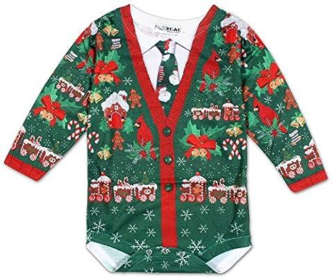 Tuxedo Morph Costume - Infant: Ugly Xmas Cardigan Long Sleeve Romper