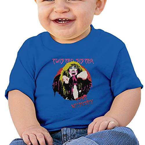 (Melyar Twisted Sister Stay Hungry Washed Cotton Baby Boy Girls Cute Summer Tshirt Blue)