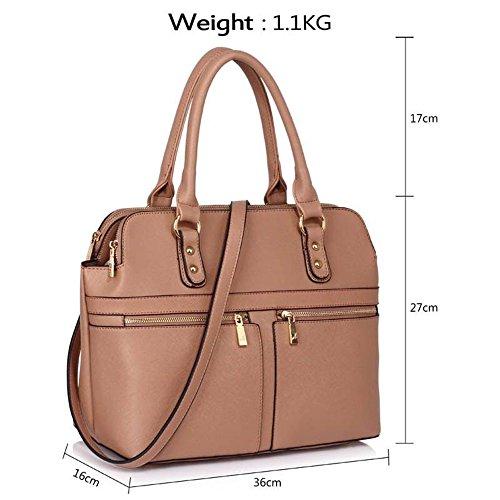 LeahWard® Damen Tragetaschen Berühmtheit Stil nett Handtaschen 3 Fächer Groß Tasche 250 MUDE/nackt 250A