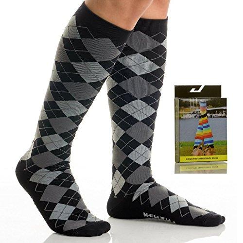 Tesla Black Boots (NEWZILL Men & Women's Compression Socks for Athletic, Nurses, Shin Splints, Maternity & Flight Travel, Black Gray Argyle - Medium (1 pair))