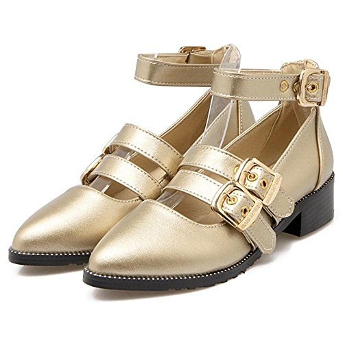 Heel Block Court Gold Fashion Shoes Women COOLCEPT Etw7Pxq8W