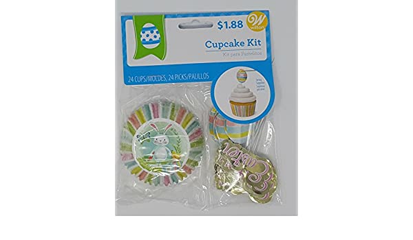 Easter cupcake topper kit with 24 colorful cups- Pastel striped sides with bunny picture on bottom, 12 egg picks and 12 Easter Picks, ...