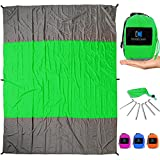 InnoCreek XL 9 x 7 ft Sand Proof Beach Blanket/Picnic Blanket - Machine Washable Parachute Nylon - Includes 6 Stakes and 4 Pockets - Compact and Lightweight Mat for Outdoor Use (Green/Grey)