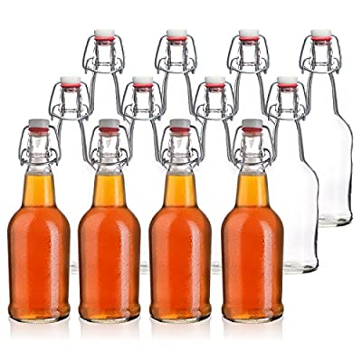 California Home Goods 16 Ounce Grolsch Bottles with EZ Caps for Beer, Fermenting Kombucha, Home Brewing, Kefir, Resealable and Reusable, Flip Top Caps, Clear (Set of 6-12)