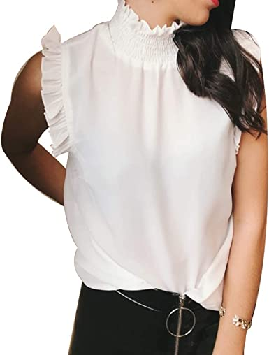 Greetuny 1pcs Camisas Mujer Sin Mangas Gasa Blusa Mujer Verano 2019 Casual Elegantes Cuello Alto Dulce Tops Mujer Fiesta: Amazon.es: Ropa y accesorios