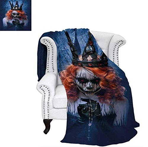 Lightweight Blanket Queen of Death Scary Body Art Halloween Evil Face Bizarre Make Up Zombie Custom Design Cozy Flannel Blanket 70