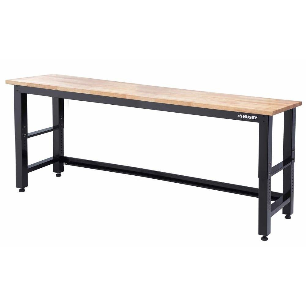 Husky 8 ft. Solid Wood Top Workbench