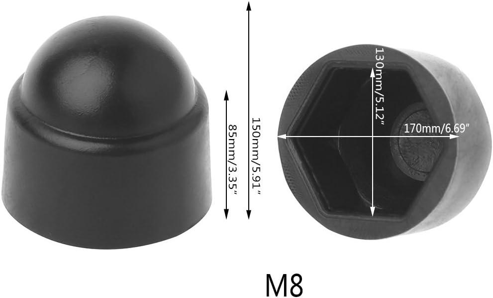 VOVOL 10 St/ück M6 M8 M10 M12 Bolzenmutter-Abdeckungen freiliegender Sechskant-Kunststoff M12