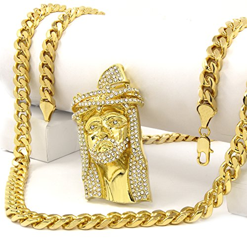 New Men's Iced Out Hip Hop Jesus Piece