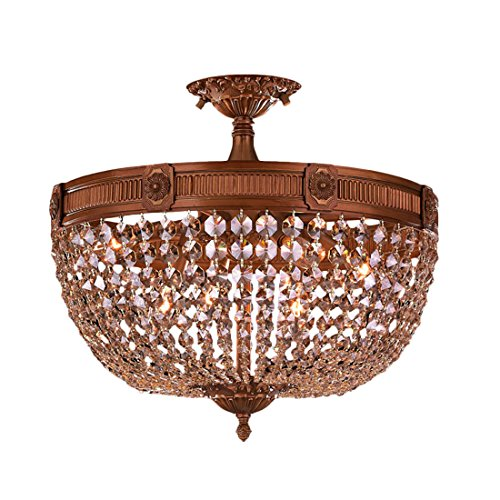 Worldwide Lighting Winchester Collection 6 Light French Gold Finish and Golden Teak Crystal Semi Flush Mount Ceiling Light 20