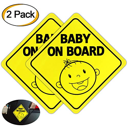 Baby On Board Sign Magnet for Car, Magnetic and Reflective Upgrade Car Safety Warning Stickers 2 Pack