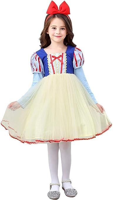 Kids Girls Children Snow White Costume PARTY Halloween Gown Dress headband