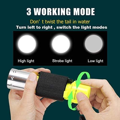 Linterna de Buceo Impermeable luz LED de Buceo ShineTool Senderismo 1000 l/úmenes Acampada con bater/ía y Cargador para Buceo 2 Unidades nataci/ón Recargable por USB Pesca 3 Modos